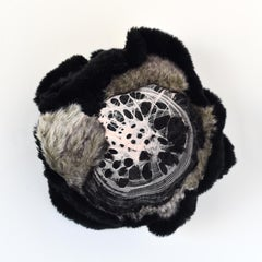 Untitled (circular mixed media abstract wall sculpture fabric black white grey)