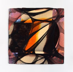 Sunrise (abstract textile fabric mixed media sustainable art design orange black