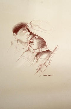 Armando Campero (Mexican 1930); My father got home; charcoal on artboard;