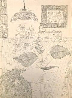 Carmen D'Avino (American 1918 - 2004); Drawing ink on paper