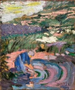 Suzanne Dinkes (1895 - 1994); Au bord de l'eau; oil on canvas