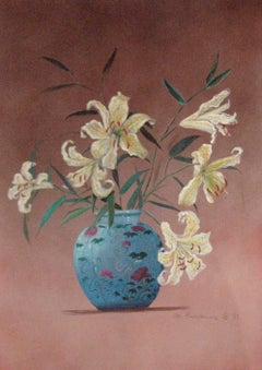 Chinese Vase; Monique Baudaux; Late 20th; mixed media on paper;