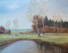 Harwood Steiger (American 1900 - 1980); Landscape; oil on wood panel