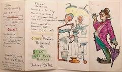 Julian Ritter (American 1909 - 2000); Postcard letter; watercolor, ink on paper;