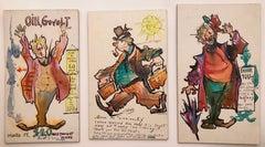 Julian Ritter (American 1909 - 2000); Three postcards; watercolor, ink on board;