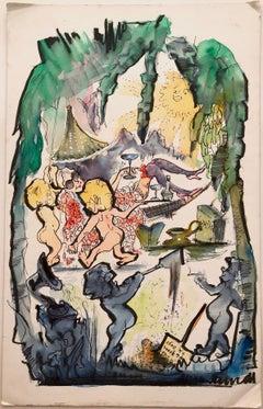 Julian Ritter (American 1909 - 2000); 46 years +6 days; watercolor, ink on board