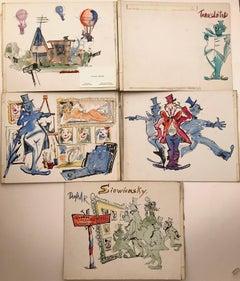 Julian Ritter (American 1909 - 2000); Five drawings; watercolor, ink on board;