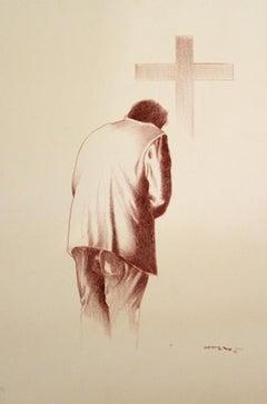 Armando Campero (Mexican 1930); Confession; charcoal on artboard;