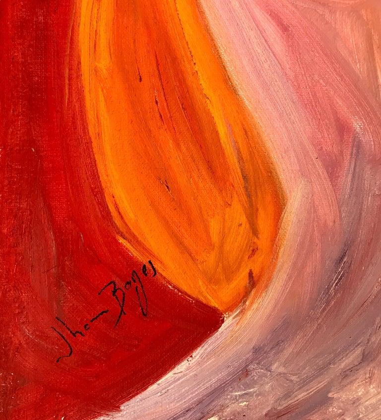 John Boyce (American 1938); Portrait 6; oil on canvas; no frame - Orange Figurative Art by John Boyce