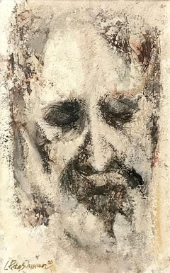 Len Poteshman (American 1924 - 2014); Portrait; acrylic/mixed medium on board