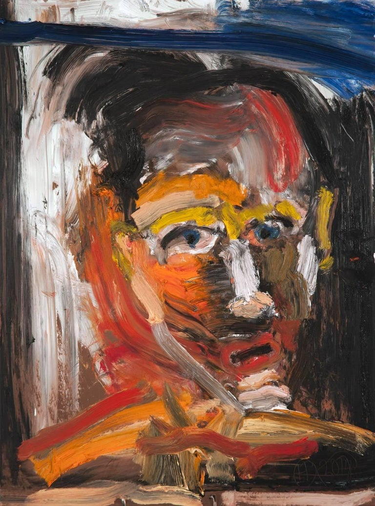 """Michael Hafftka Figurative Painting - """"One Who Doesn't Know How to Ask"""", head of a man oil painting"""