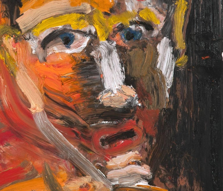 Michael Hafftka, One Who Doesn't Know How to Ask, expressionist portrait of man - Contemporary Painting by Michael Hafftka