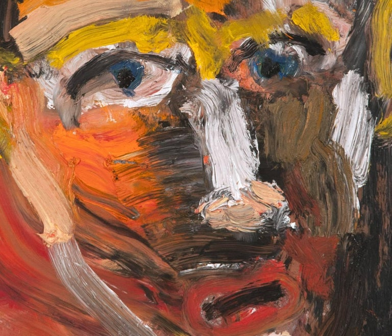 Michael Hafftka, One Who Doesn't Know How to Ask, expressionist portrait of man - Black Figurative Painting by Michael Hafftka