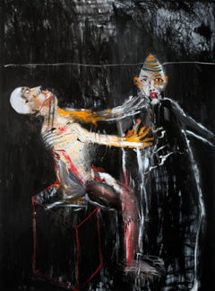 """""""An Arm's Length Transaction"""", figurative oil painting of two men struggling"""