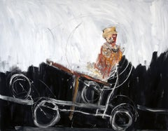 """Memory"", figurative oil painting of man on a handcar"