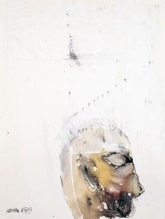 'Tongue Tied', Michael Hafftka. Figurative watercolor of a man's head