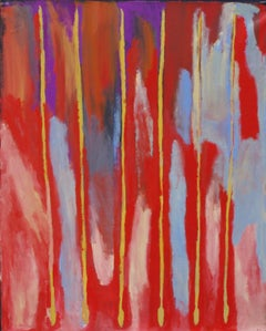 Brenton Ken, Australian Aboriginal contemporary red painting of yellow spears