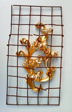 Conquest, Renaissance style, gold carved wood, reclaimed rusted steel mesh