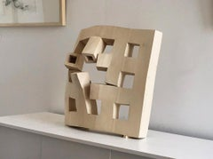 Offline, contemporary abstract carved solid wood grid sculpture