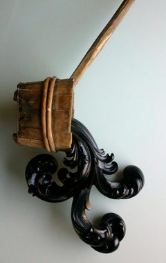 Breakout, contemporary carved wood sculpture with water ladle