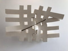 Relationship, contemporary abstract carved solid wood grid sculpture