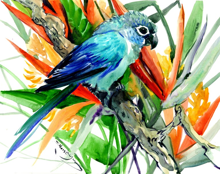 Suren Nersisyan Sun Conure And Paradise Flowers Tropics For Sale At 1stdibs