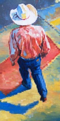 Cowboy Walking in Santa Fe Sunset