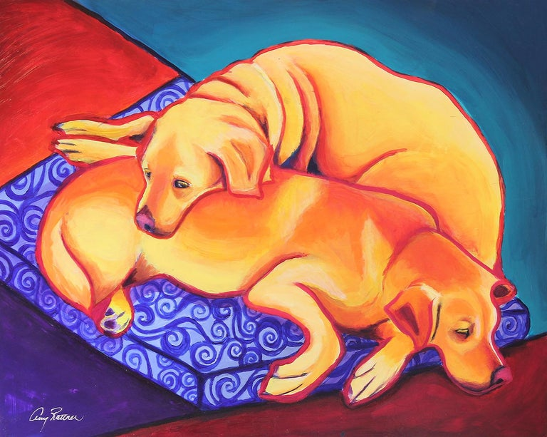 <p>Artist Comments<br>My two yellow labs have slept this way since they were both puppies, and it has always made me smile because they fit together like puzzle pieces, or yin and yang. I was inspired by the work of John Nieto, and wanted to use