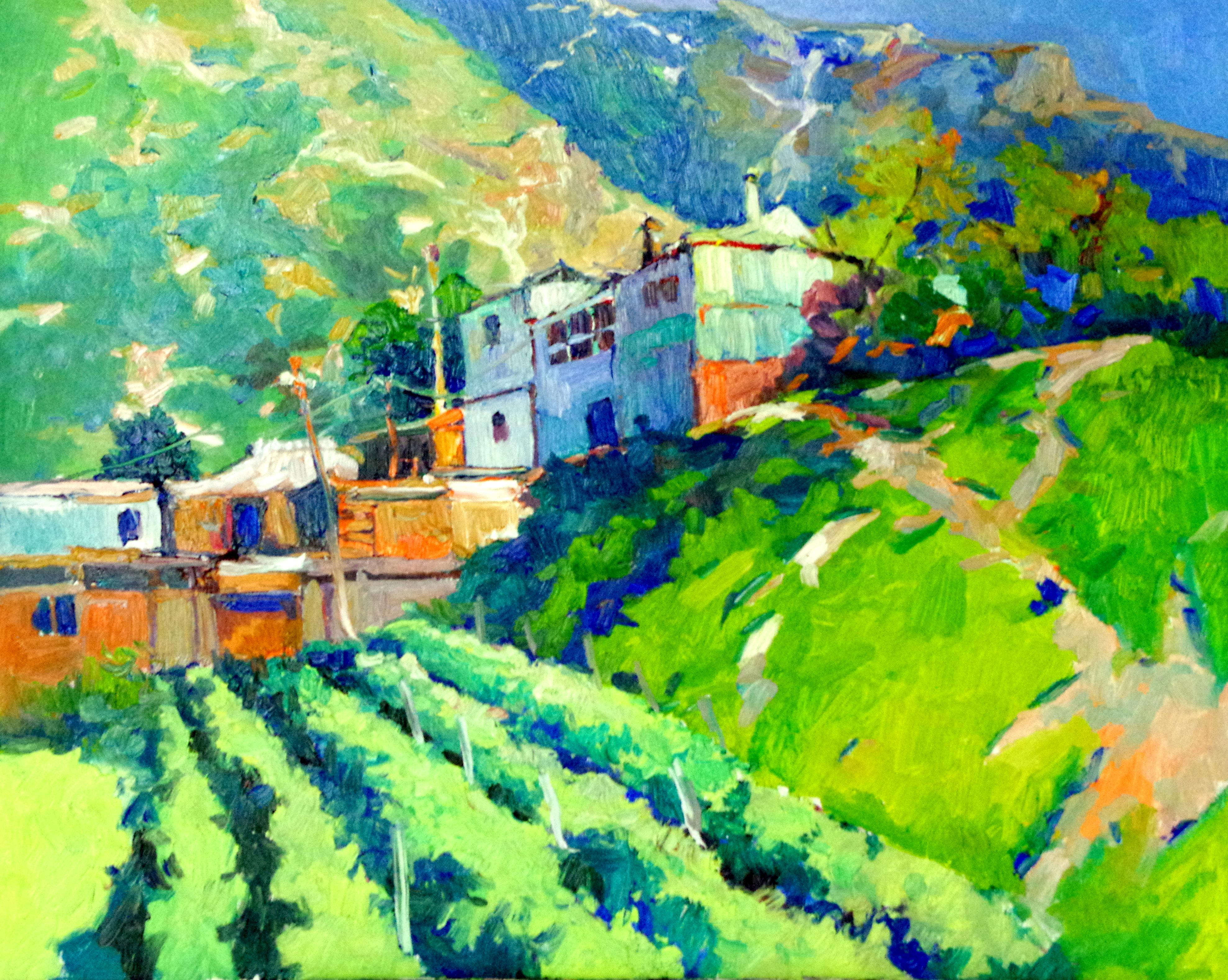 Farm Houses in the Mountains, Green Summer Mountain Landscape
