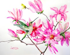 Hummingbird and Pink Magnolia Flowers