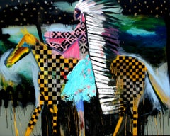 Abstract Horse Painting, A Patterned Chief on Patterned Horse 2