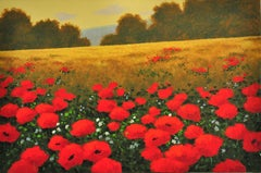 Red Poppies in a Field, Original Painting