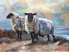 Black Faced Sheep, Devon, Oil Painting