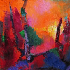 In the Pines, Abstract Oil Painting