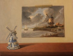 Windmills, Oil Painting
