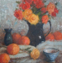 Citrus And Tea Roses, Oil Painting