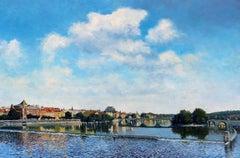 Legion Bridge, Prague, Oil Painting