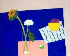 Sunflower and Hydrangea on Blue Table