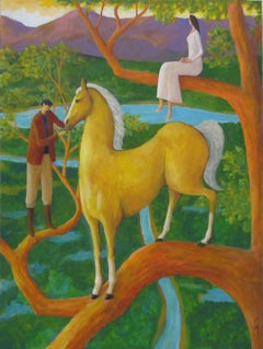 Surreal Horse Painting, Palomino Tree
