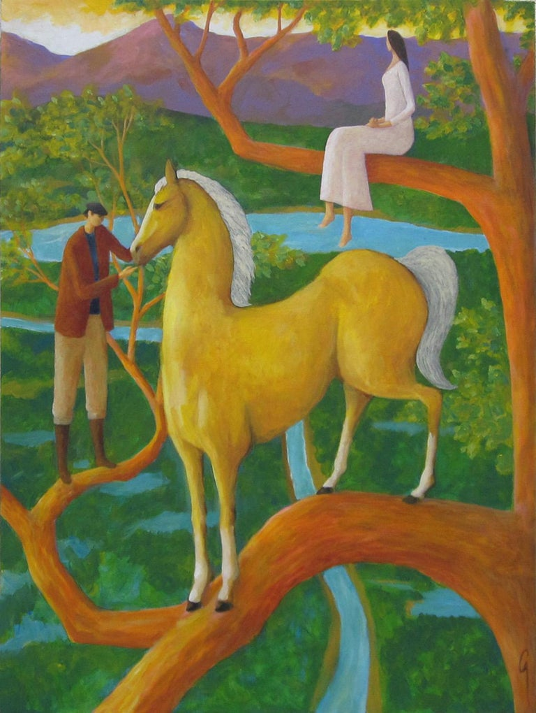 Surreal Horse Painting, Palomino Tree - Art by Glenn Quist