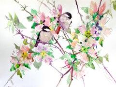 Dogwood Flowers and Chickadees