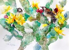 Cactus Wren and Prickly Pear