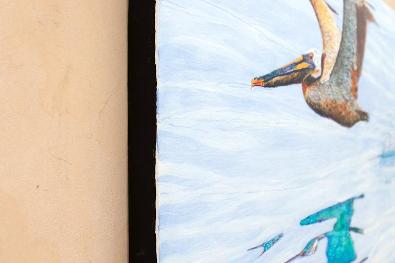 <p>Artist Comments<br>Emil spotted this Brown Pelican off the Santa Barbara coast. The bird watched him carefully for a while then lumbered into the air with what he took to be a look of disdain, leaving behind a nice big splash and a vibrant