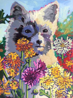 Chrysanthemum Fox, Oil Painting