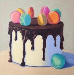 Chocolate Macaron Cake, Oil Painting