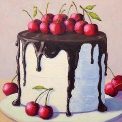 Chocolate Cherry Cake, Oil Painting