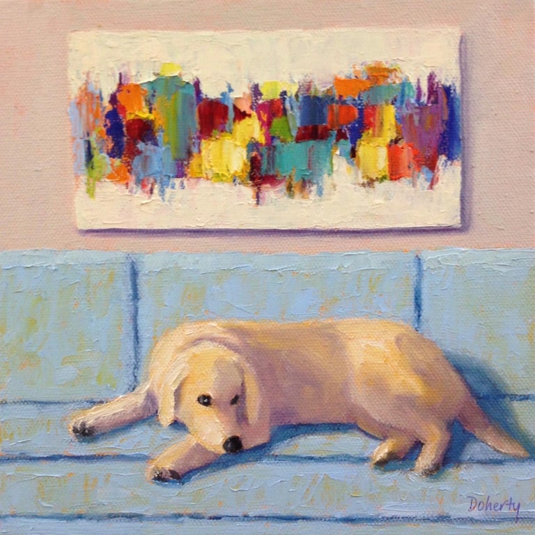 <p>Artist Comments<br>A yellow lab taking a midday nap on the couch. Abstract artwork above the sofa balances the composition. Graphic, simplified forms create a welcoming atmosphere. Pat Doherty's latest series depicts living room scenes with a dog
