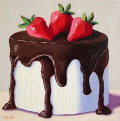 Tuxedo Cake with Strawberries, Oil Painting
