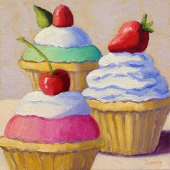 Three Cupcakes, Oil Painting