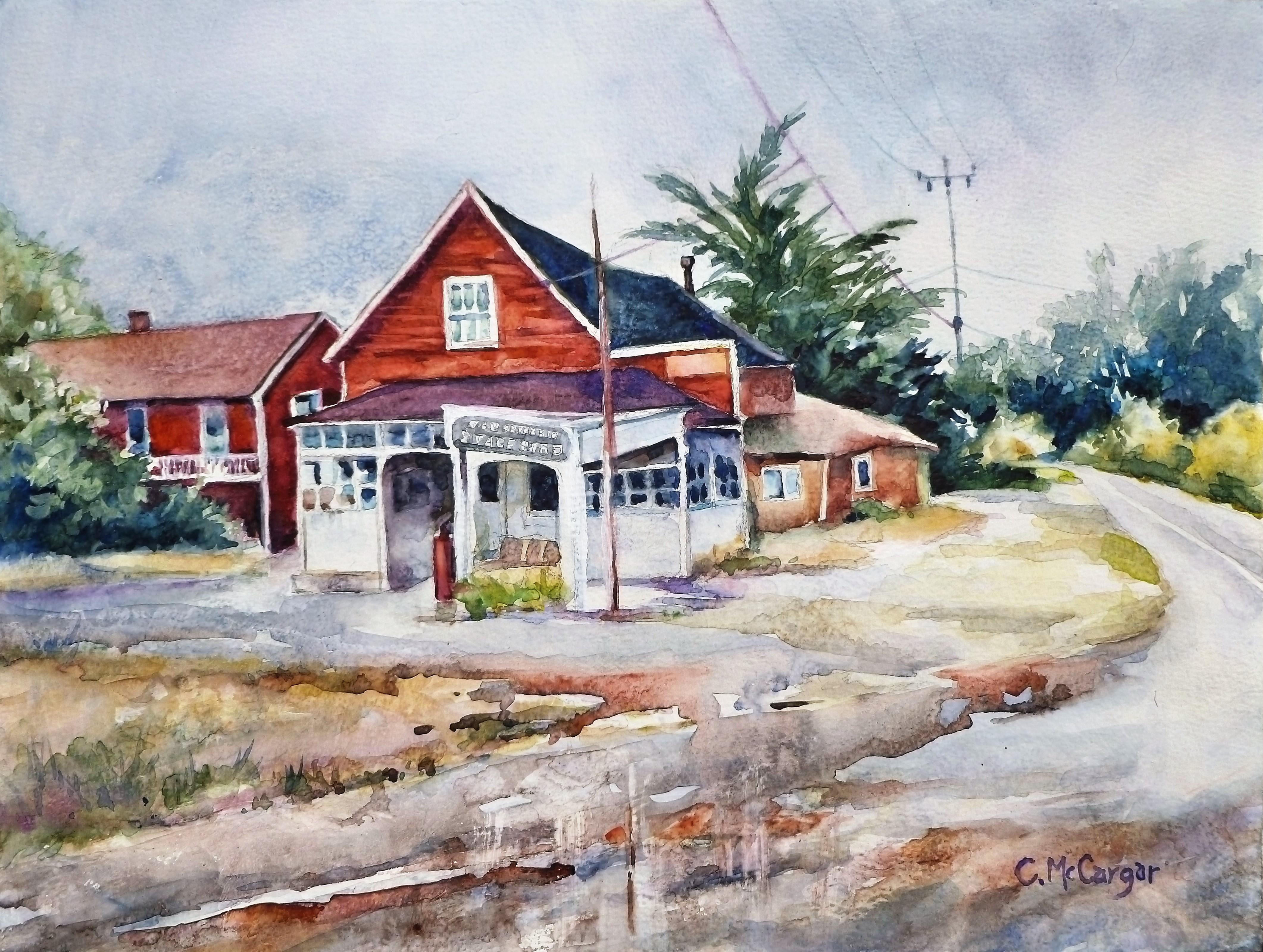 Coastal Stage Stop in San Gregorio, Original Painting